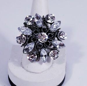 Etched Metal, Sparkly Designed Adjustable Ring
